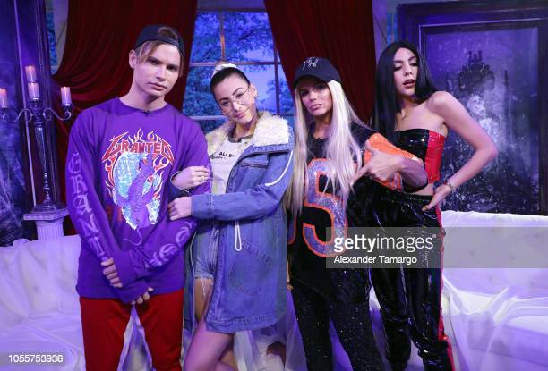 Christian Acosta Nastassja Bolivar Rashel Diaz and Claudia Vergara are seen dressed as Justin Bieber Hailey Baldwin and Jennifer Lopez on the set of...