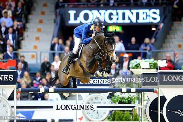 Christian Ahlmann of Germany rides Taloubet Z during the Longines FEI World Cup Final Jumping on March 26 2016 in Gothenburg Sweden