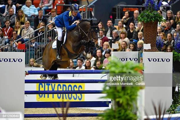 Christian Ahlmann of Germany riding Taloubet during the Longines FEI World Cup Jumping Final event of the Gothenburg Horse Show at Scandinavium Arena...