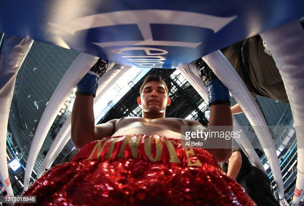 Christian Alan Gomez Duran prays in his corner against Xavier Wilson, before their welterweight fight at AT&T Stadium on May 08, 2021 in Arlington,...