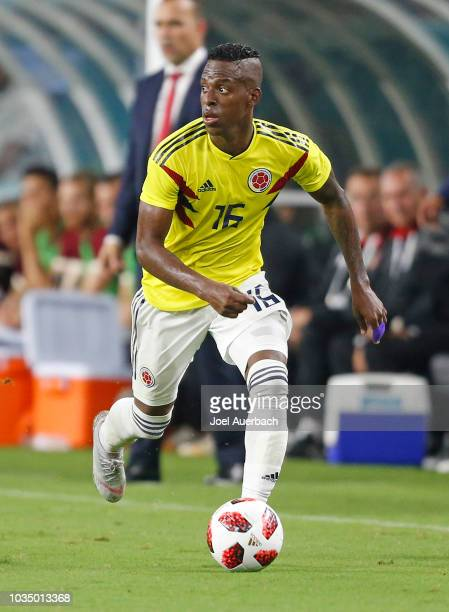 Christian Alexis Borja of Colombia brings the ball up field against Venezuela during an International friendly match on September 7 2018 at Hard Rock...