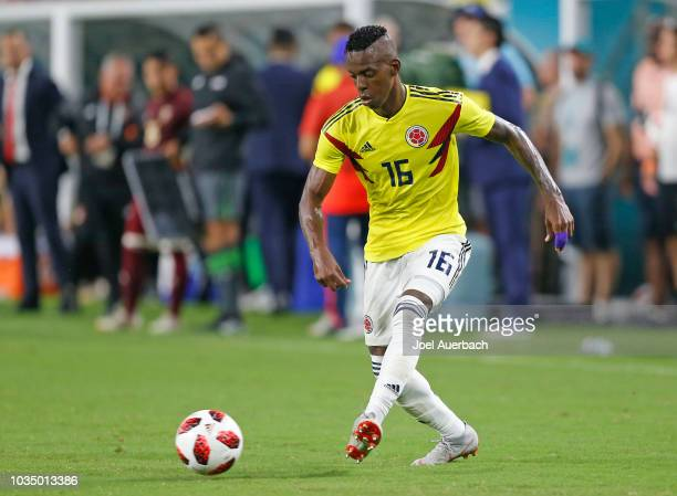 Christian Alexis Borja of Colombia plays the ball against Venezuela during an International friendly match on September 7 2018 at Hard Rock Stadium...