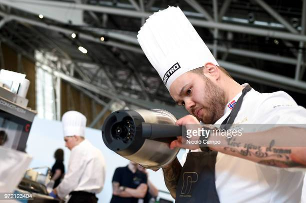 Christian Andre Pettersen of Norway cooks during the Europe 2018 Bocuse d'Or International culinary competition Best ten teams will access to the...