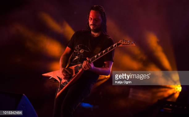 Christian Andreu of Gojira performs at Bloodstock Festival at Catton Hall on August 11 2018 in Burton Upon Trent England
