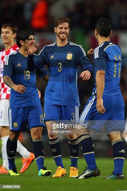 Christian Ansaldi of Argentina celebrates scoring during the International Friendly between Argentina and Croatia at Boleyn Ground on November 12...