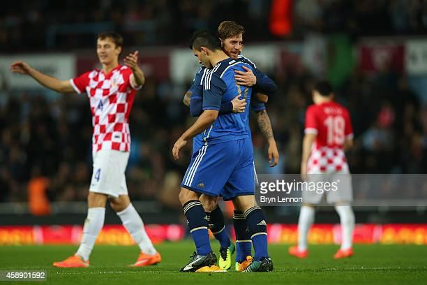 Christian Ansaldi of Argentina celebrates scoring during the International Friendly between Argentina and Croatia at Boleyn Ground on November 12,...