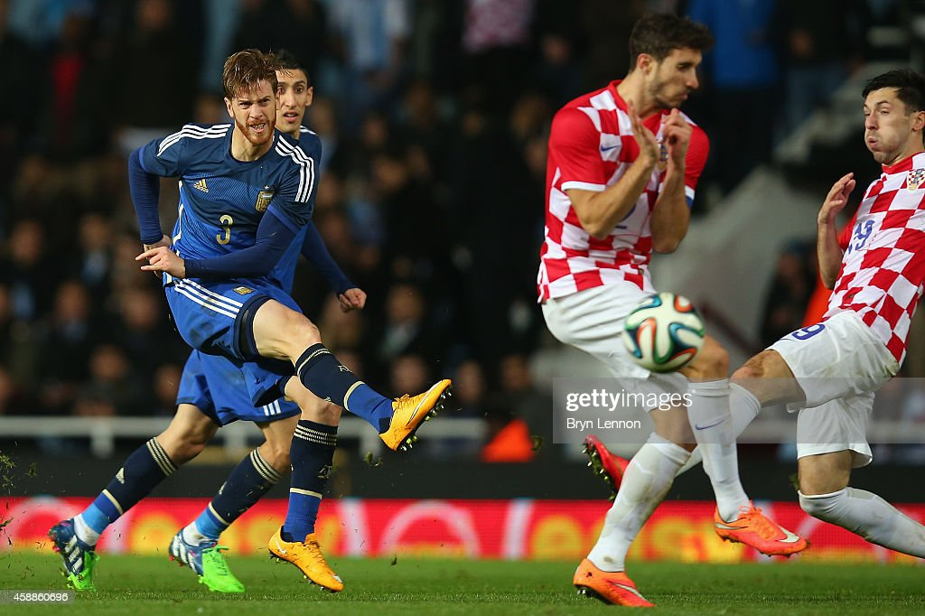Christian Ansaldi of Argentina scores during the International Friendly between Argentina and Croatia at Boleyn Ground on November 12, 2014 in London, England.