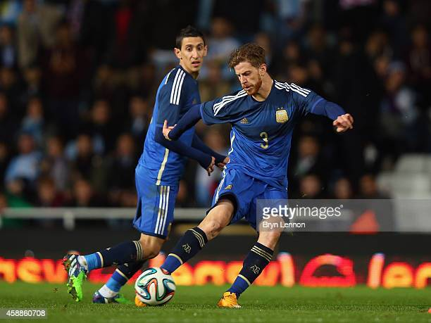 Christian Ansaldi of Argentina scores during the International Friendly between Argentina and Croatia at Boleyn Ground on November 12 2014 in London...