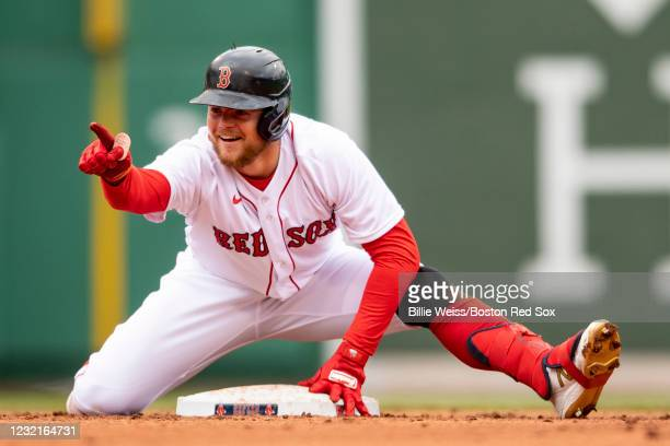 Christian Arroyo of the Boston Red Sox reacts after hitting an RBI double during the fifth inning of a game against the Tampa Bay Rays on April 7,...