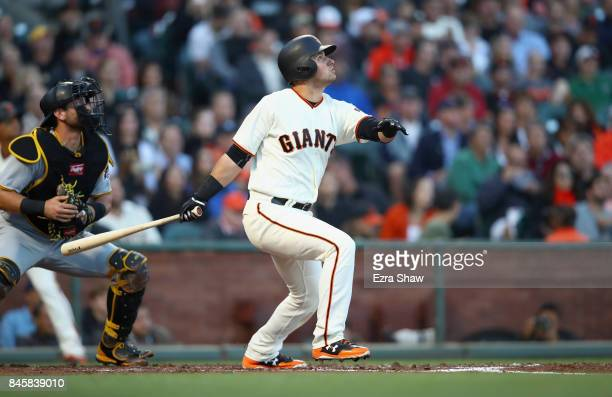 Christian Arroyo of the San Francisco Giants bats against the Pittsburgh Pirates at ATT Park on July 25 2017 in San Francisco California
