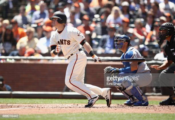 Christian Arroyo of the San Francisco Giants bats against the Los Angeles Dodgers at ATT Park on April 27 2017 in San Francisco California