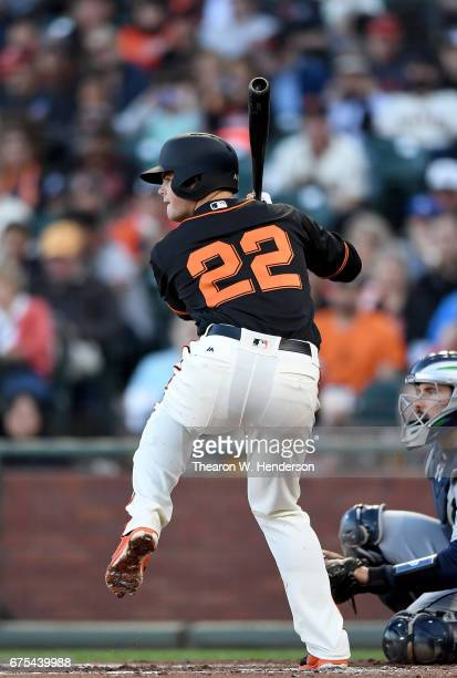 Christian Arroyo of the San Francisco Giants bats against the San Diego Padres in the bottom of the second inning at ATT Park on April 29 2017 in San...