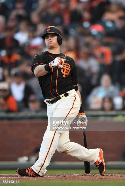 Christian Arroyo of the San Francisco Giants bats against the San Diego Padres in the bottom of the fourth inning at ATT Park on April 29 2017 in San...