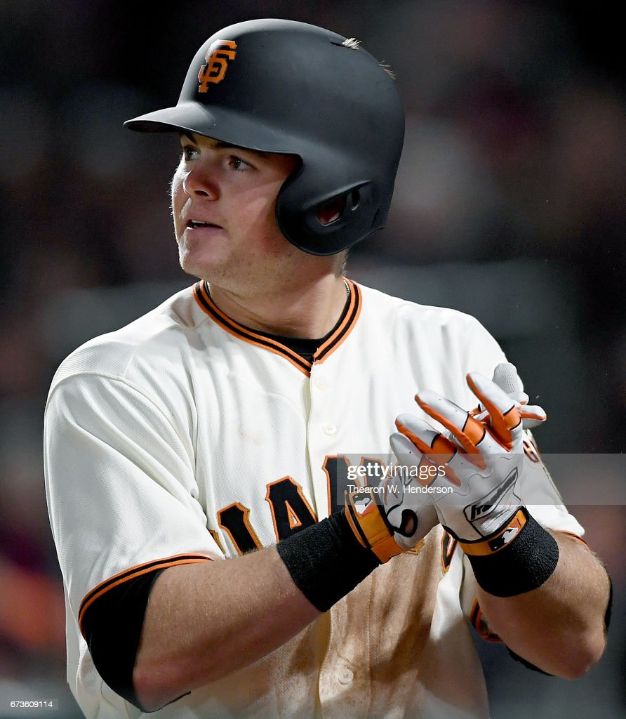 Christian Arroyo #22 of the San Francisco Giants celebrates after hitting a two-run homer against the Los Angeles Dodgers in the bottom of the seventh inning at AT&T Park on April 26, 2017 in San Francisco, California.