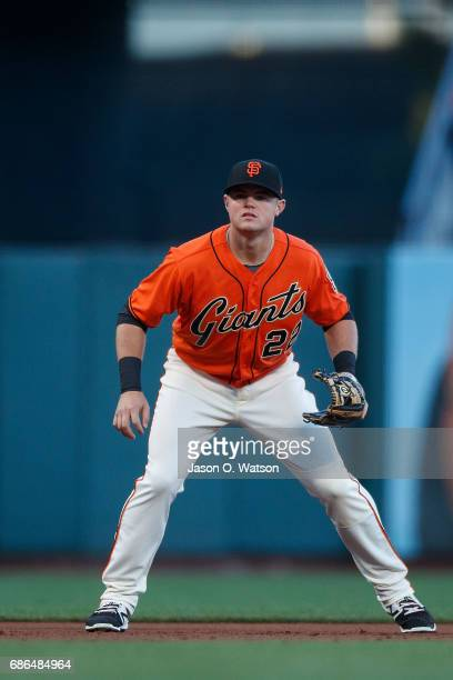 Christian Arroyo of the San Francisco Giants stands on the field during the first inning against the Cincinnati Reds at ATT Park on May 12 2017 in...