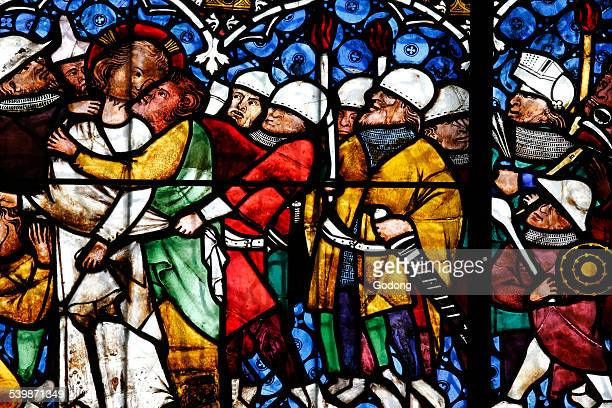 christian art in france. stained glass. - judas iscariot stock pictures, royalty-free photos & images