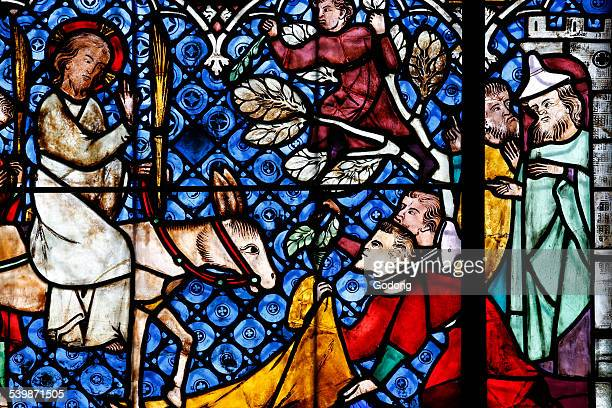 christian art in france. stained glass. - palm sunday stock pictures, royalty-free photos & images