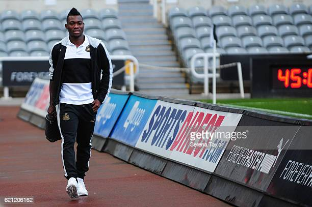 Christian Atsu arrives for the Sky Bet Championship match between Newcastle United and Cardiff City at StJames' Park on November 5 2016 in Newcastle...