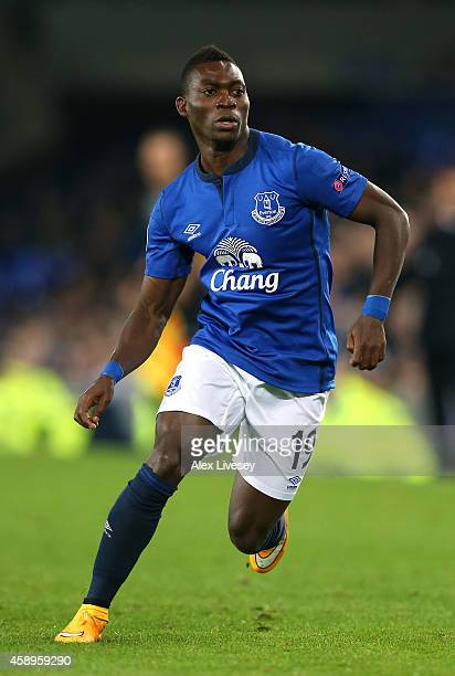 Christian Atsu of Everton FC during the UEFA Europa League match between Everton FC and LOSC Lille at Goodison Park on November 6 2014 in Liverpool...