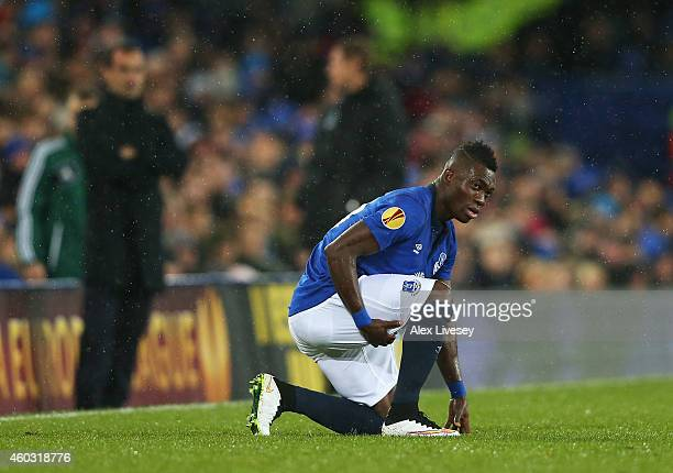 Christian Atsu of Everton holds his hamstring before leaving the field injured during the UEFA Europa League Group H match between Everton and...