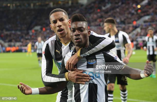 Christian Atsu of Newcastle celebrates after he scores the second for his team during the Sky Bet Championship match between Newcastle United and...
