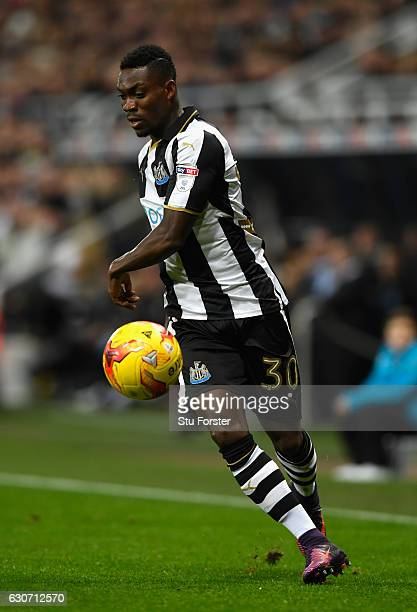 Christian Atsu of Newcastle in action during the Sky Bet Championship match between Newcastle United and Nottingham Forest at St James' Park on...