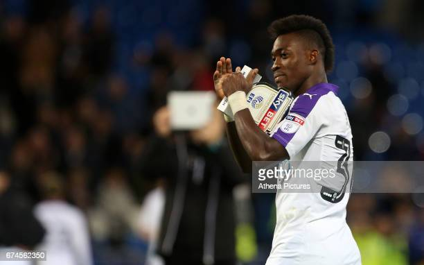 Christian Atsu of Newcastle United after the final whistle of the Sky Bet Championship match between Cardiff City and Newcastle United at the Cardiff...