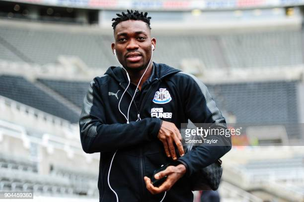 Christian Atsu of Newcastle United arrives for the Premier League match between Newcastle United and Swansea City at StJames' Park on January 13 in...