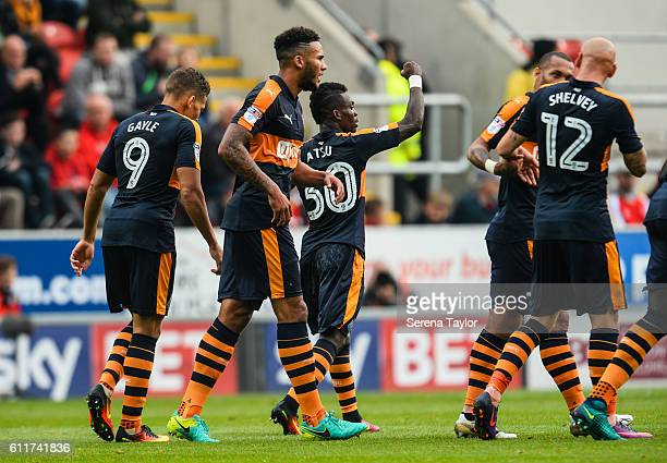 Christian Atsu of Newcastle United celebrates after scoring the opening goal during the Sky Bet Championship match between Rotherham United and...