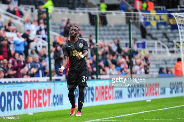Christian Atsu of Newcastle United celebrates after scoring the second goal during the Pre Season Friendly match between Newcastle United and Hellas...
