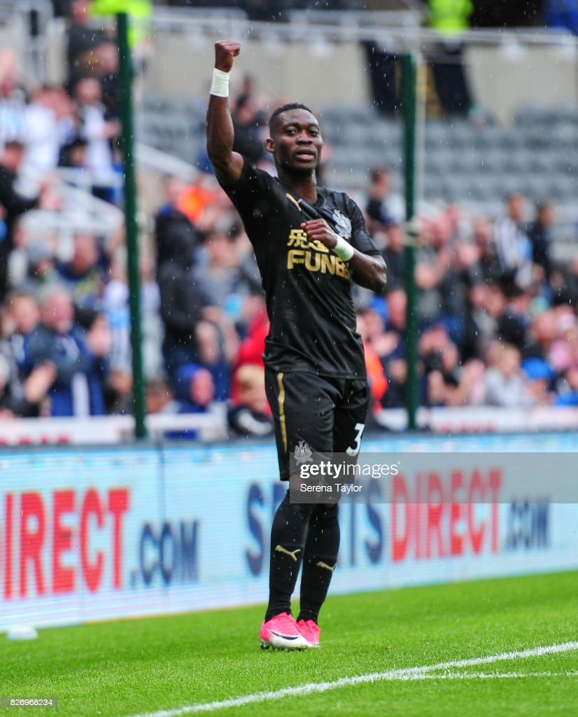 Christian Atsu of Newcastle United (30) celebrates after scoring the second goal during the Pre Season Friendly match between Newcastle United and Hellas Verona at St.James' Park on August 6, 2017, in Newcastle upon Tyne, England.