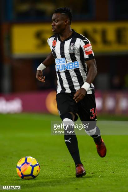 Christian Atsu of Newcastle United controls the ball during the Premier League match between Burnley and Newcastle United at Turf Moore on October 30...