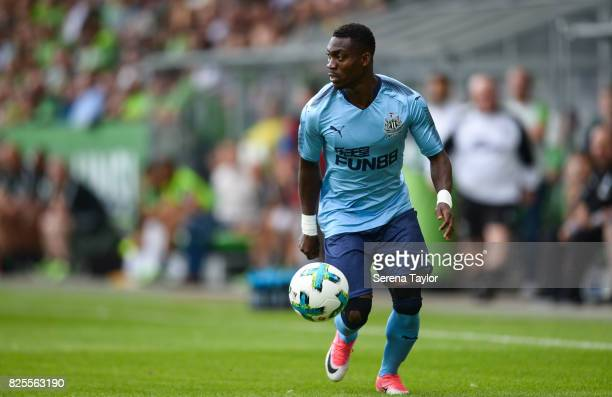 Christian Atsu of Newcastle United controls the ball during the Pre Season Friendly match between VFL Wolfsburg and Newcastle United at AOKStadion on...