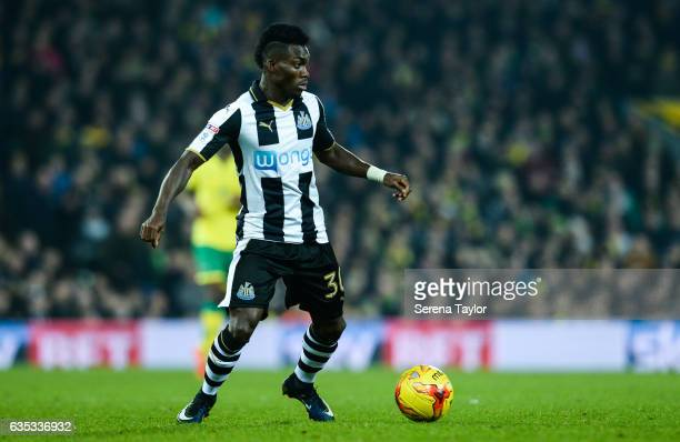 Christian Atsu of Newcastle United controls the ball during the Sky Bet Championship match between Norwich City and Newcastle United at Carrow Road...