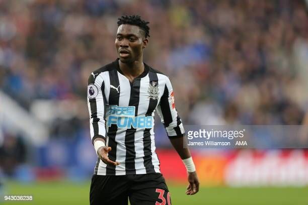 Christian Atsu of Newcastle United during the Premier League match between Leicester City and Newcastle United at The King Power Stadium on April 7...
