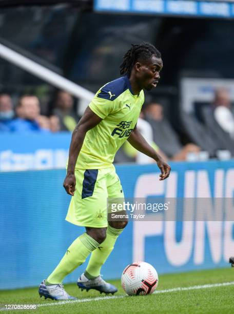 Christian Atsu of Newcastle United FC controls the ball during the Pre Season Friendly between Newcastle United and Stoke City at St James' Park on...