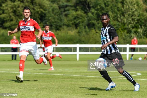 Christian Atsu of Newcastle United FC passes the ball during the Pre Season Friendly between Newcastle United and Middlesbrough FC at the Rockliffe...