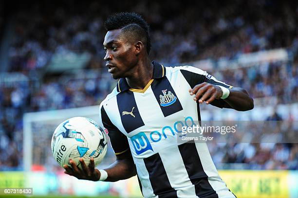 Christian Atsu of Newcastle United holds the ball in one hand during the Sky Bet Championship match between Newcastle United and Wolverhampton at...