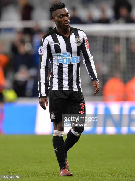 Christian Atsu of Newcastle United in action during the Premier League match between Newcastle United and Brighton and Hove Albion at St James Park...