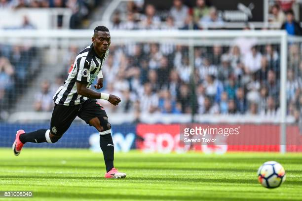 Christian Atsu of Newcastle United look to collect the ball during the Premier League Match between Newcastle United and Tottenham Hotspur at...