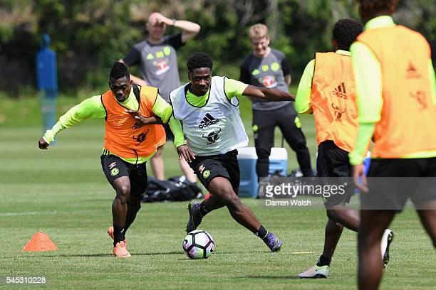Christian Atsu Ola Aina at Chelsea Training Ground on July 6 2016 in Cobham England