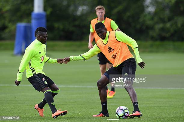Christian Atsu Papy Djilobodji during a Chelsea training session at Chelsea Training Ground on July 12 2016 in Cobham England