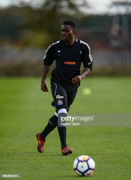 Christian Atsu passes the ball during the Newcastle United Training session at the Newcastle United Training Centre on October 13 in Newcastle England