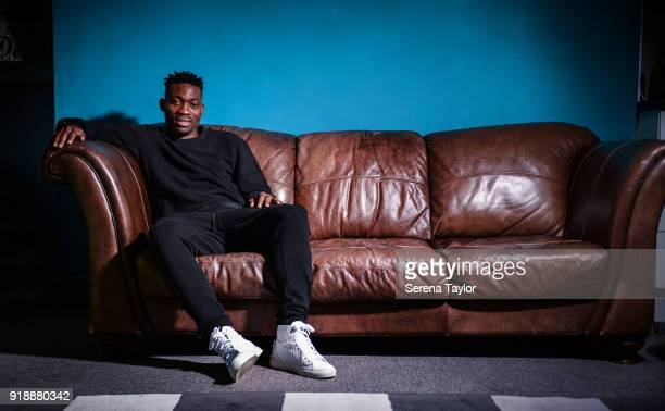 Christian Atsu poses for photographs during a photo shoot at the Hillsong UK Newcastle in Newcastle upon Tyne on January 18 in Newcastle upon Tyne...