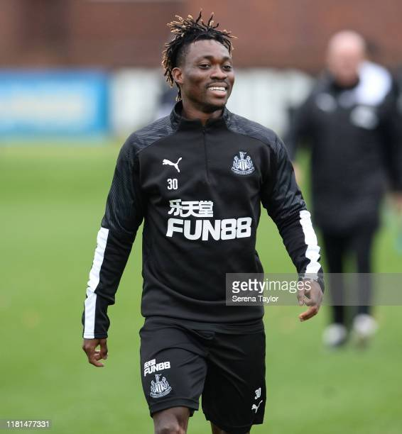 Christian Atsu smiles during the Newcastle United Training Session at the Newcastle United Training Centre on October 16 2019 in Newcastle upon Tyne...