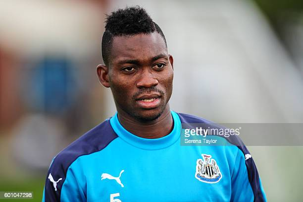 Christian Atsu smiles during the Newcastle United training session at The Newcastle United Training Centre on September 9 in Newcastle upon Tyne...