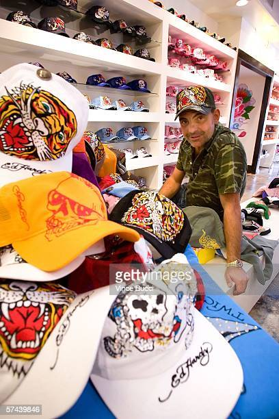 Christian Audigier poses during a portrait shoot at the Ed Hardy Store on April 25, 2006 in Los Angeles, California.