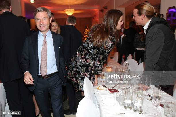 Christian Auer and Susanne Susi Seehofer daughter of Horst Seehofer during the annual christmas roast kid dinner on December 17 2018 in Munich Germany