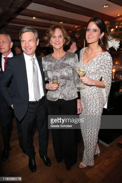 Christian Auer, Karin Seehofer, Susanne Seehofer during SaskiaGreipl's 50th birthday celebration at Feinkost Kaefer on January 8, 2020 in Munich,...