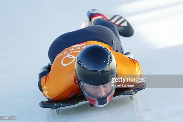 Christian Auer of Austria practices the men's skeleton during the Salt Lake City Winter Olympic Games on February 17 2002 at the Utah Olympic Park in...